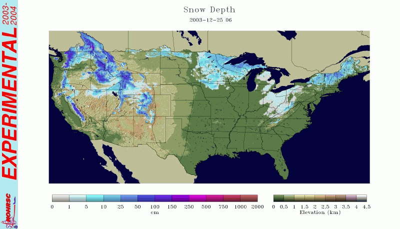 2003 Christmas Day Snow Cover Map