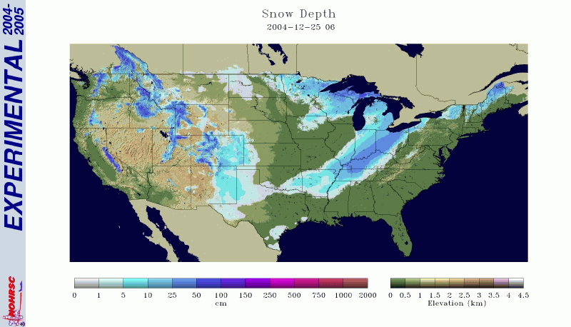 2004 Christmas Day Snow Cover Map