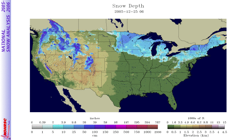 2005 Christmas Day Snow Cover Map