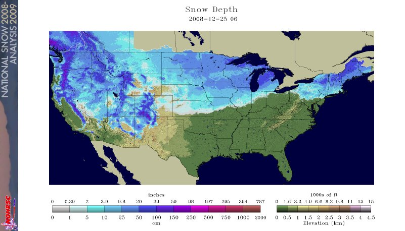 Snowpack over the United States on December 25, 2008