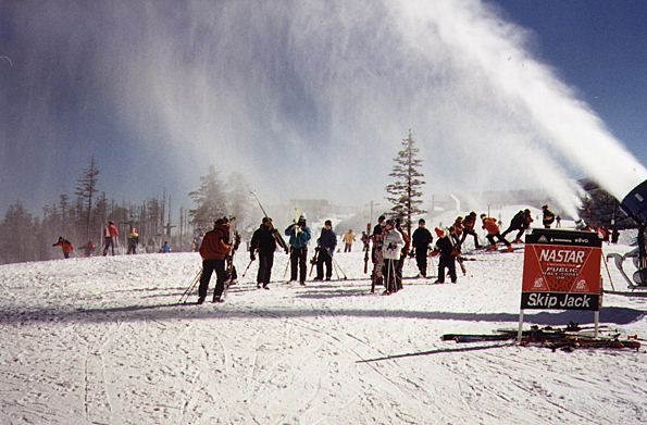 Snow making machine on a ski slope.