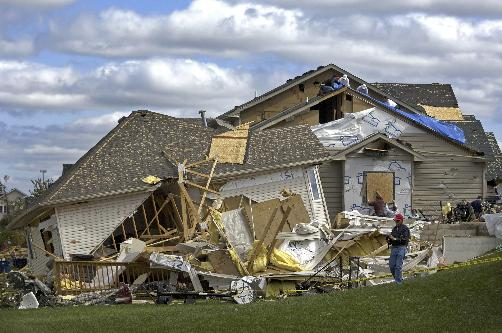 The home in Rogers, Minnesota where Jaymi Wendt, 10, was killed the evening of September 16, 2006 when a tornado struck the neighborhood.
