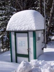 This photo provided by the U.S. Geological Survey department shows the air temperature sensor at the Big Black River shelter near the Canadian Border, close to St. Pamphile, Quebec.  On Jan. 16, the U.S. Geological Survey team reported that a new record low temperature was recorded here at minus 50 degrees below zero, tying a record low for New England. (AP Photo/Nicholas Stasulis, U.S. Geological Survey)