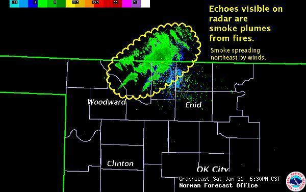 The WSR-88D doppler radar out of Norman Oklahoma captured this image of smoke resulting from wildfires.  Credit:  National Weather Service