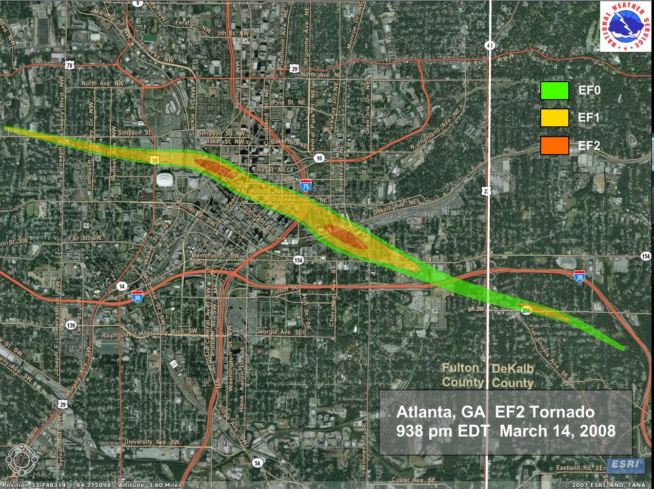 This map published by the Atlanta National Weather Service office describes the track and intensity of the tornado that struck Atlanta, GA on 03/14/2008.
