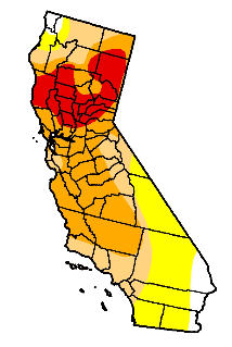 California drought conditions as of February 24, 2009.  Red indicates Extreme Drought, while orange indicates severe. (Credit: UNL Drought Monitor