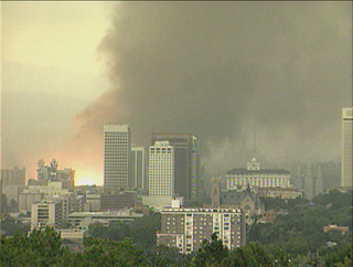 A tornado strikes downtown Salt Lake City, UT in 1999.