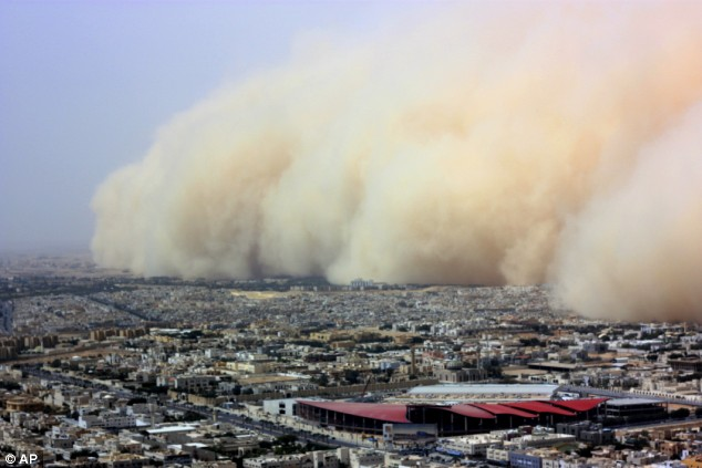 The Saudi Arabian capital city of Riyadh was blasted by an intense sand storm this week, dropping visibility to zero and bringing transportation to a standstill after causing dozens of automobile accidents and other disruptions.