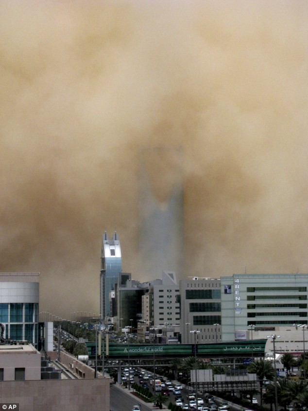 A crippling duststorm shrouded the Saudi capital of Riyadh on Tuesday, halting transportation for hours.