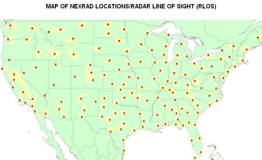 This map displays the locations of all National Weather Service radar locations (red) and the regions in which the radar beam is low enough to the ground that it may be impacted by windmills (yellow).