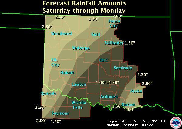 Widespread rainfall is forecast for the weekend.  Such rainfall should significantly decrease the wildfire theat in much of central Oklahoma.  (Credit:  NOAA)