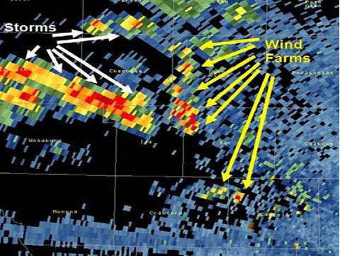 This image from the National Weather Service demonstrates how wind turbines can be mistaken for storms on doppler radar.  Credit:  NOAA