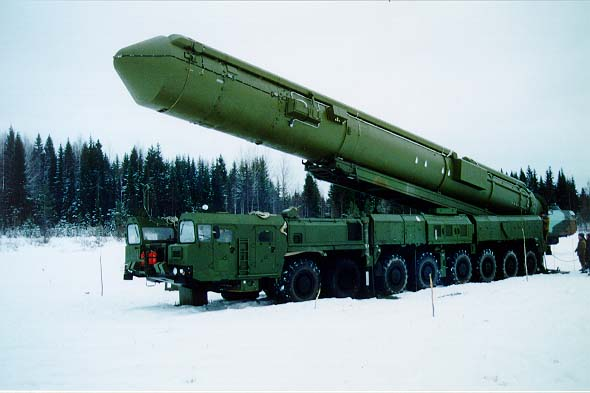 File image of a land-based moble Russian inter-continental balistic missile (ICBM).