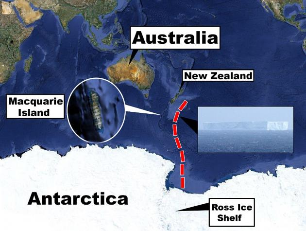The iceberg that has drifted toward Macquarie Island has taken a long path to get there.  While it is proving quite a sight for islanders, scientists expect it to slowly shrink and break up in warmer ocean waters as the southern hemisphere summer looms.