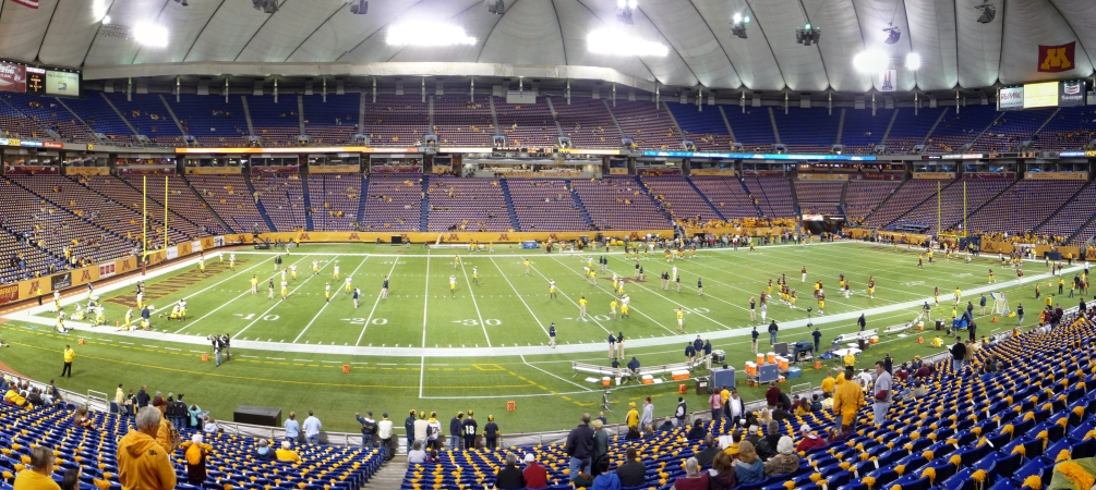 This file photo shows the interior of the Metrodome before the December 12, 2010 collapse of the Teflon roof.