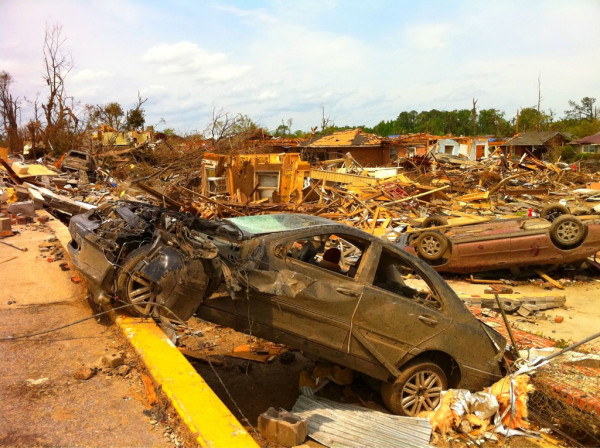 The tornadoes tossed cars around like toys.  April 28, 2011.