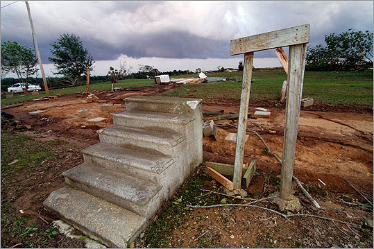 The concrete stairs are all that remain of this Tuscaloosa, Alabama home following the devastating April 28, 2011 tornado.
